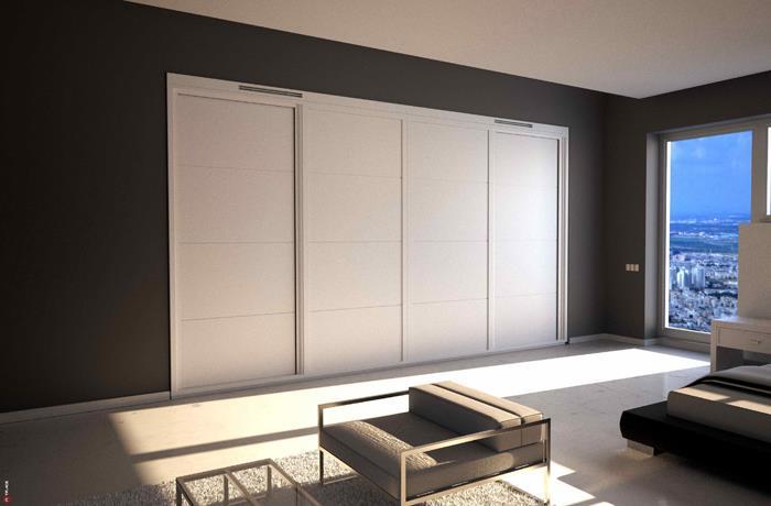 ארון הזזה לבן 4 דלתות