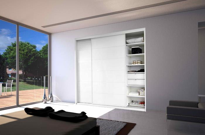 ארון הזזה לבן בעיצוב מודרני